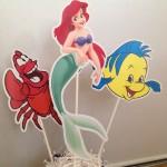 mala sirena, arijel, likovi na stapicu, stapici za rodjendan, rodjendanska dekoracija