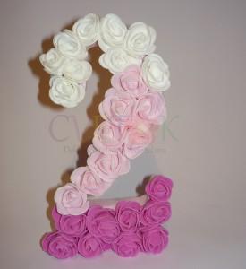 Broj od ružica, stirodur, 3d slova, 3d broj, dekoracija, deciji rodjendani, dekoracija rodjendana, dekoracija decijih rodjendana