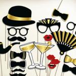 zabavni rekviziti za slikanje, maske za fotografisanje iz kolekcije Black and Gold