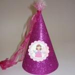 kapa princeza sa imenom, kapa sa sljokicama, rodjendanske kape na temu princeza, kapica glitter princess, dekoracija rodjendana princeza