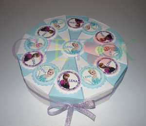 torta od papira na temu frozen, frozen kutijice u obliku torte, poklon za rodjendan frozen