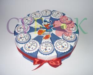 papirna torta disney, kutije za slatkise paja patak, torte od kartona za rodjendan donald duck, torta za vrtic paja patak
