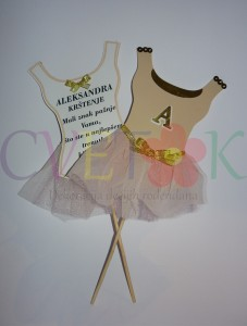 pozivnice za krstenje, zahvalnica balerina, prvi rodjendan i krstenje za devojcice, dekoracija balerina