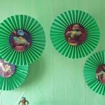 ninja turtles, nindza kornjace, rozete, papirni ukrasi, papirne lepeze, dekoracija rodjendana