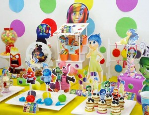 dekoracija slatkog stola, rodjendanski sto, inside out, u mojoj glavi crtani,