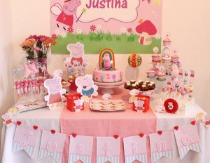 pepea prase, rodjendanski sto, kolaci, slatkisi, dekoracija