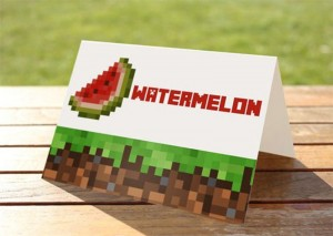 oznake za posluzenje minecrat, kartice za rodjendanski sto na temu minecraft