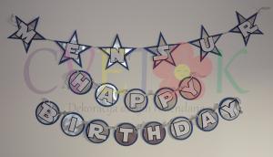 natpis happy birthday na temu star wars, rodjendanski natpis star wars