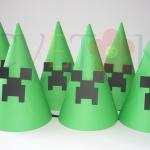 rodjendanske kape creeper, kape za rodjendan na temu minecraft
