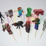 toperi za mafine minecraft, minecraft dekoracija za kolace, likovi minecraft za kapkejk
