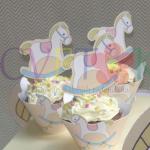 korpice za kapkejk na temu konjic, cupcakes dekoracija za rodjendan konjic, toperi za mafine na temu konjic