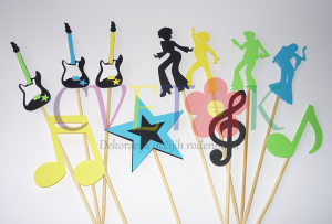 stapici za cake pops music, stapici za popse i mafine na temu disco, toperi za mafine na temu muzika