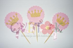 toperi sa zlatnom krunom, stapici za mafine princeza, zlatne krune za cupcake