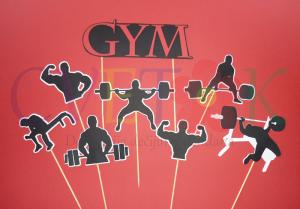 rodjendanska dekoracija za momke, stapici na temu teretana gym
