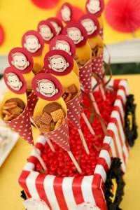 fišeci na štapiću, slatkiši, rođendan, Majmun Džordž