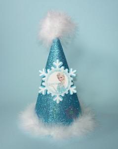 kape sa perjem za rodjendane, kapa na temu frozen, frozen birthday hat
