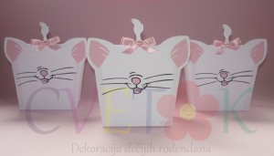 dekoracija za rodjendan marie aristocats, kutije za kokice na temu mace mari marie aristocats, dekorativne kutije za slatki sto, kutija maca za rodjendan, fiseci za kokice na temu maca