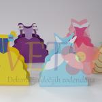kutije u obliku haljina, diznijeve princeze kutije za poklone, dekoracija na temu dizni princeza, kutije za slatkise haljinice