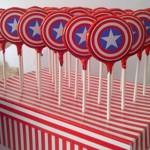lilihip avengers, dekoracija slatkog stola avengers, lollipop kapetan amerika