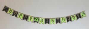 baner za rođendan, dečije igre, minecraft, natpis, dekoracija