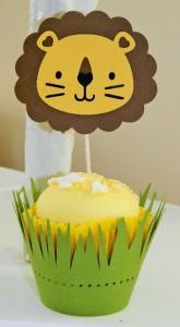 omoti i toperi za kapkejk lav, korpice za mafine kao dekoracija decijih rodjendana na temu lav
