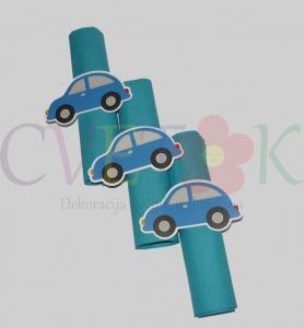 prstenovi za salvete u obliku auta, prstenje plava buba kao rodjendanska dekoracija