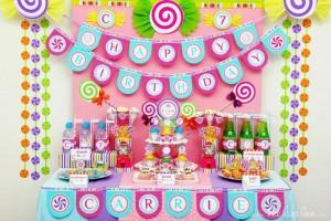 rodjendanski sto, dekoracija, lizalice