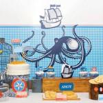 slatki sto oktopod, dekoracija rodjendana na temu mornar