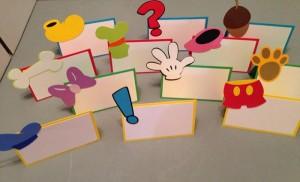oznake za posluzenje mikijeva radionica, kartice za stolove mikijeva druzina