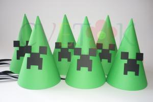 rodjendanske kape creeper, kape za rodjendan na temu minecraft, minecraft kapa, dekoracija minecraft za rodjendan