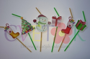 dekorativne slamke za novu godinu, slamcice sa novogodisnjim motivima, zimska dekoracija za rodjendan i novu godinu, ukrasne slamcice