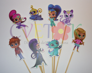 toperi za mafine shimmer and shine, stapici za cake pops simer i sajn