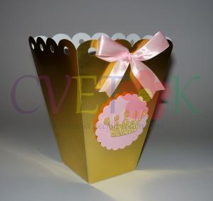 zlatne kutije za slatki sto, kutije za kokice sa krunom, zlatne kutije za slatkise, dekorativna kutija za rodjendan