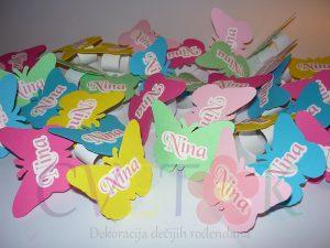 prstenovi za salvete leptiri, dekoracija za slatki sto laptir, salvete sa leptirima i imenom