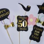 foto rekviziti za odrasle, pedestei rodjendan, maske za rodjendan, zlatni i crni foto rekviziti