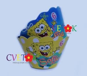 sundjer bob dekoracija, omoti za kapkejk sundjer bob, korpice za mafine sundjer bob, SpongeBob SquarePants cupcake, sundjer bob slatki sto