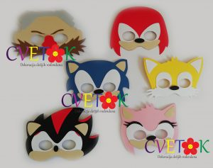 maske sonik, foto rekviziti sonik, photo booth sonic the hedgehog, sonic the hedgehog dekoracija rodjendana